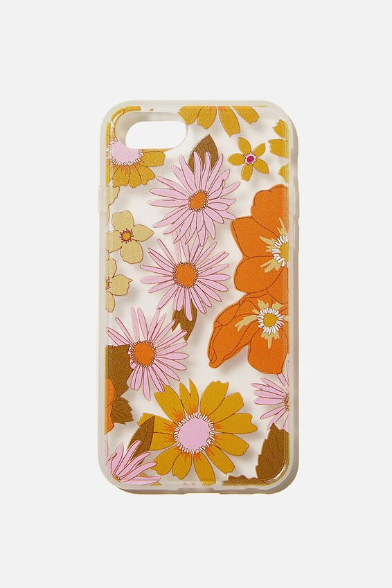 Protective Phone Case 6, 7, 8, SE, STEVIE FLORAL ORANGE AND PINK