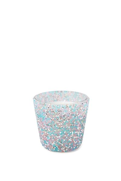 Jewelled Candle, PINK BLUE GLITTER
