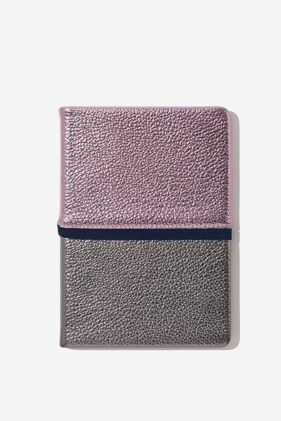 Medium A5 Note Taker Dot Journal, PURPLE AND SILVER