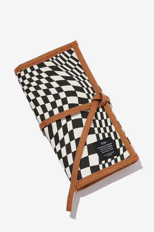 Roll With It Brush Case, WARP CHECKERBOARD BLACK