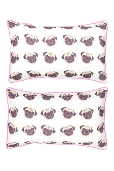 Novelty Pillow Cases Set Of 2, TROPICAL PUG