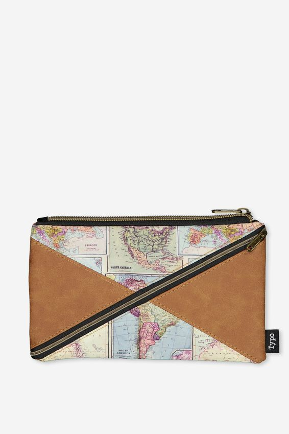 Quad Pencil Case, TAN MAP