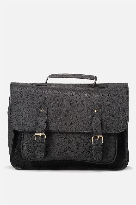 Satchel Bag, BLACK TOOLED