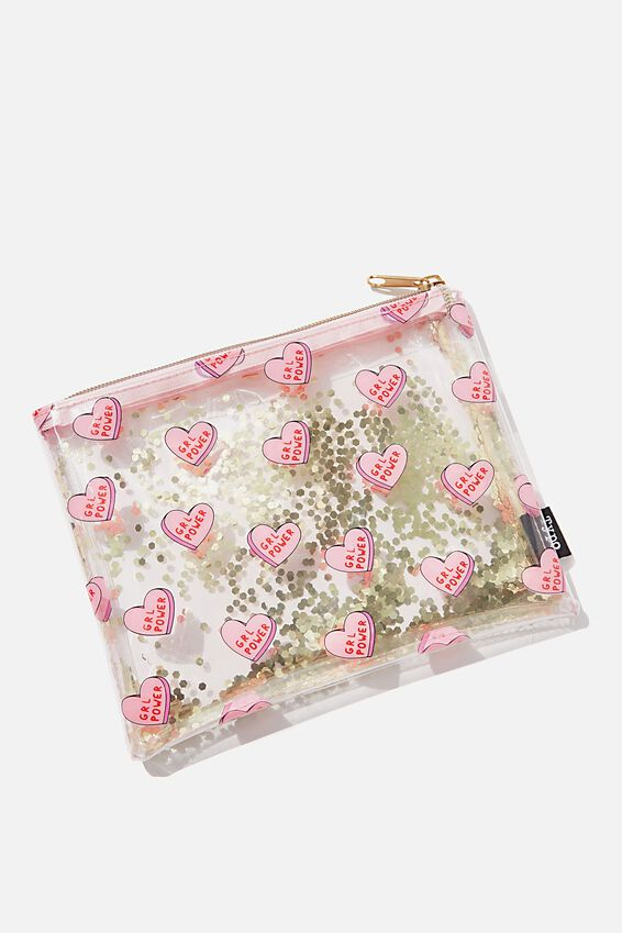 Clear It Pencil Case, GRL POWER HEARTS