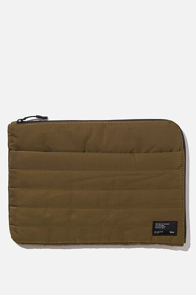 Utility Recycled 13 Inch Laptop Case, KHAKI AND PAPAYA