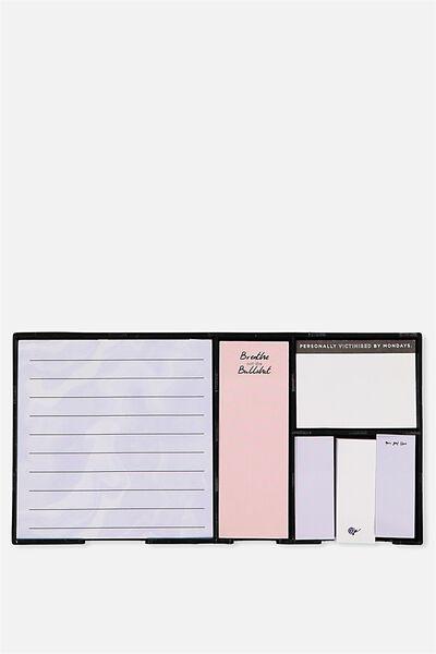 Boxed Sticky Notes, CORNFLOWER AGATE BULLSHIT!