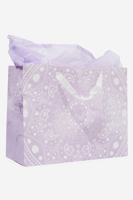 Medium Gift Bag with Tissue Paper, LILAC MANDALA CIRCLE
