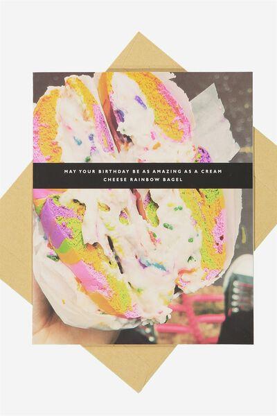Funny Birthday Card, RAINBOW BAGEL