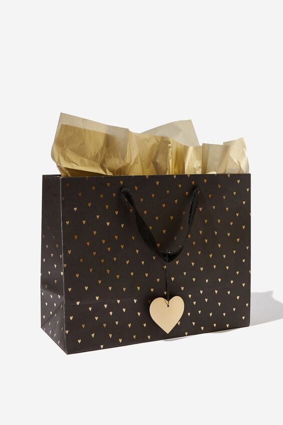 Medium Gift Bag with Tissue Paper, BLACK GOLD HEART