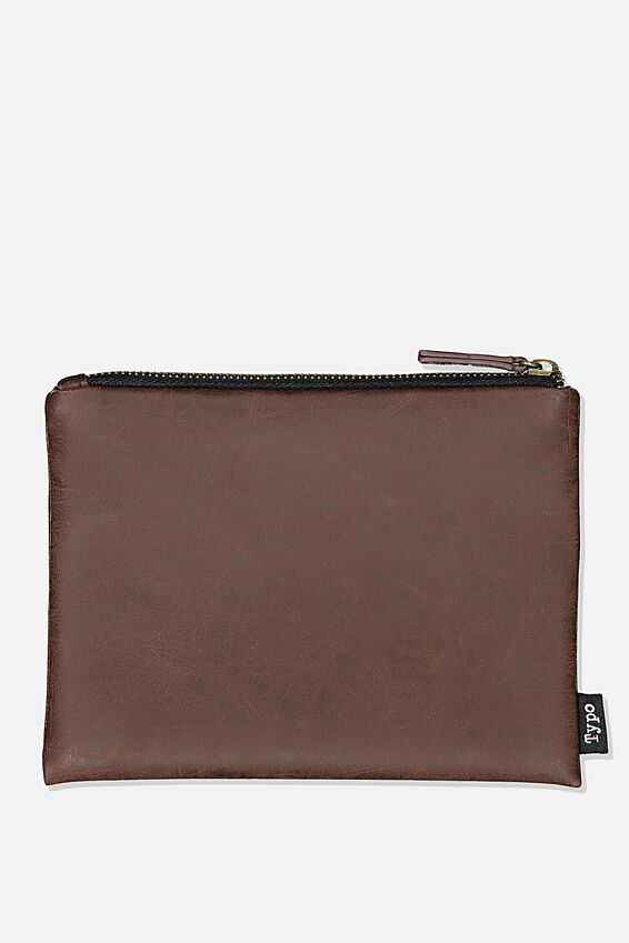 Pu Campus Pencil Case, RICH TAN