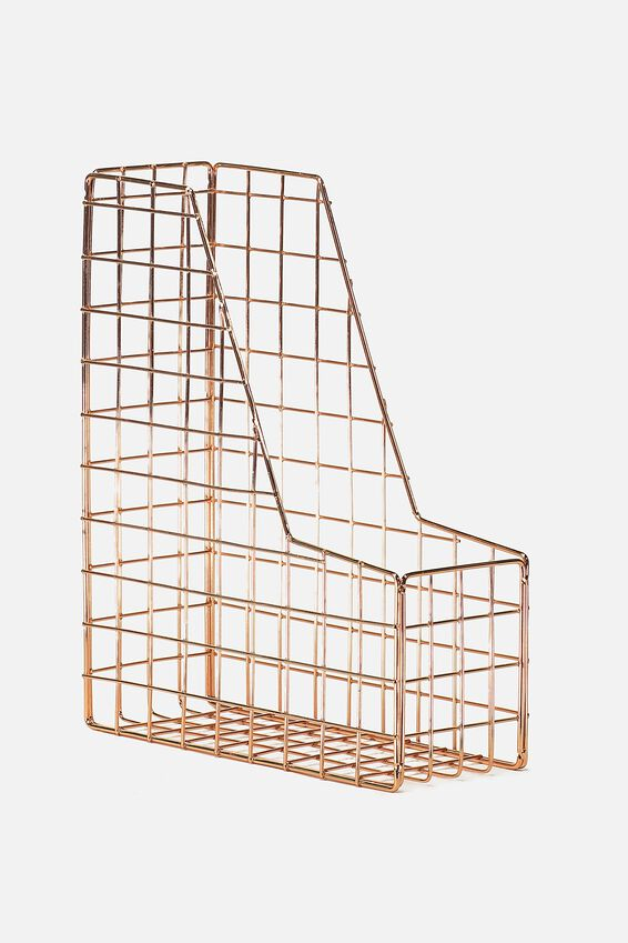 Metal Magazine Holder, ROSE GOLD WIRE