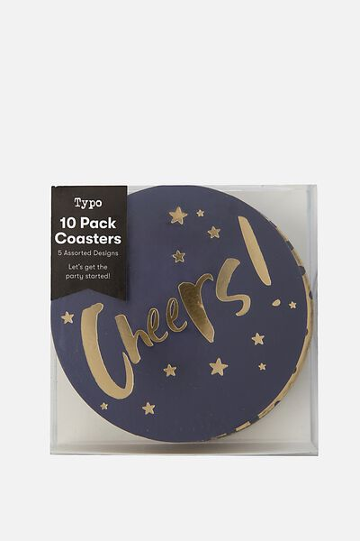 Coaster 10 Pack, NAVY & GOLD