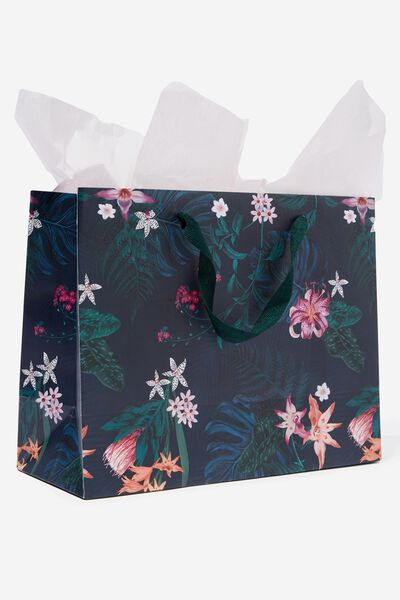 Medium Gift Bag with Tissue Paper, KYLIE DARK FLORAL