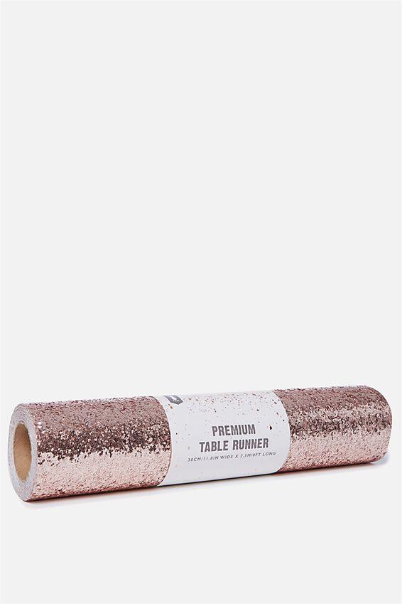 Premium Table Runner 2.5M X 30Cm, ROSE GOLD GLITTER