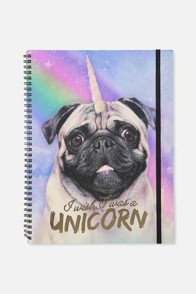 "Large Spinout Notebook 11x8"", UNICORN PUG"