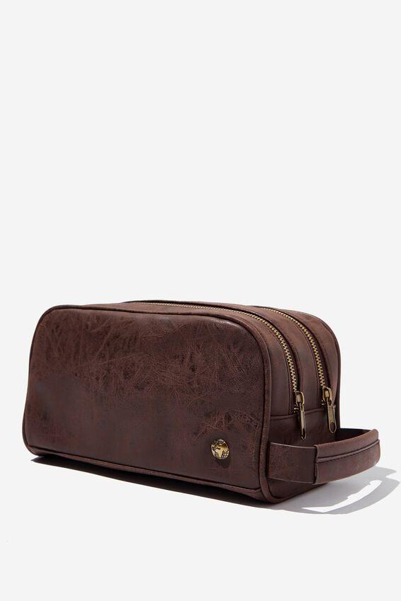 Double Zipper Wash Bag, RICH TAN