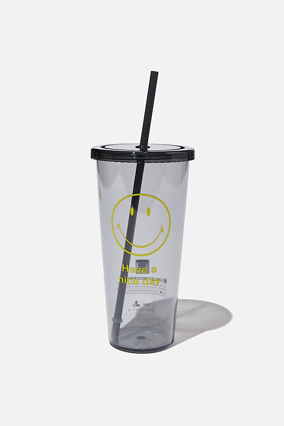 Smiley Sipper Smoothie Cup, LCN SMI BLACK HAVE A NICE DAY