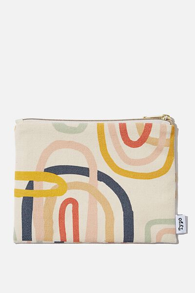 Pu Campus Pencil Case, MULTICOLOURED SWIRL