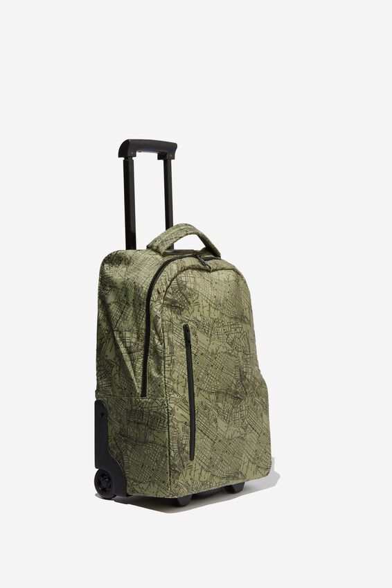 Soft Shell Suitcase, KHAKI MAP PRINT