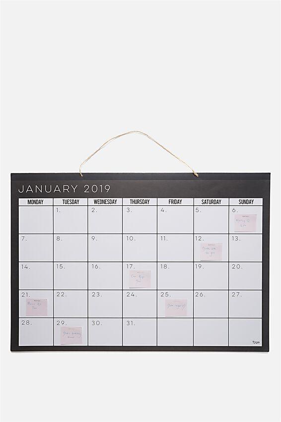 2019 A1 Wall Calendar, BLACK