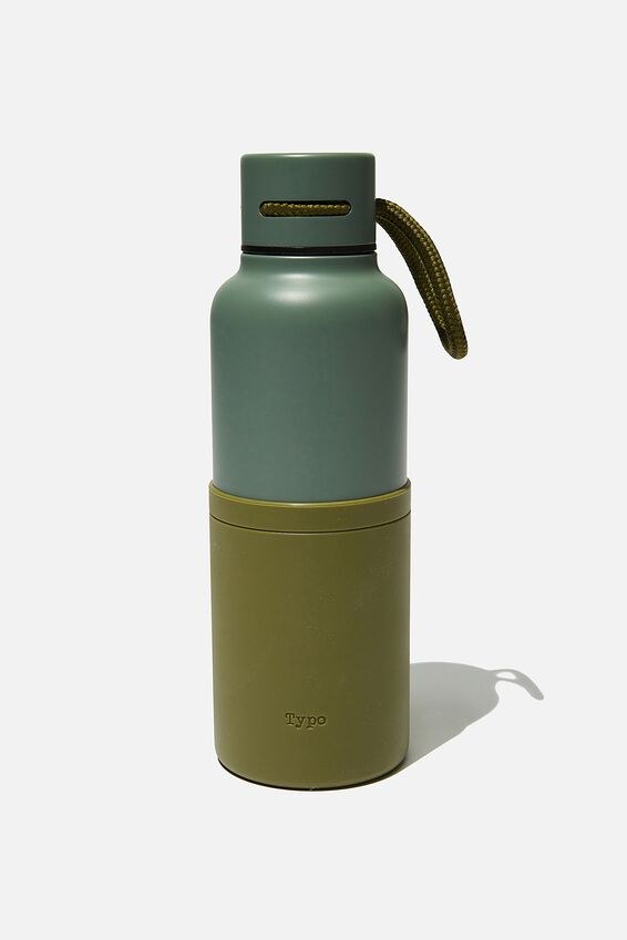 The Loop Metal Drink Bottle, EUCALYPT & OIL SKIN