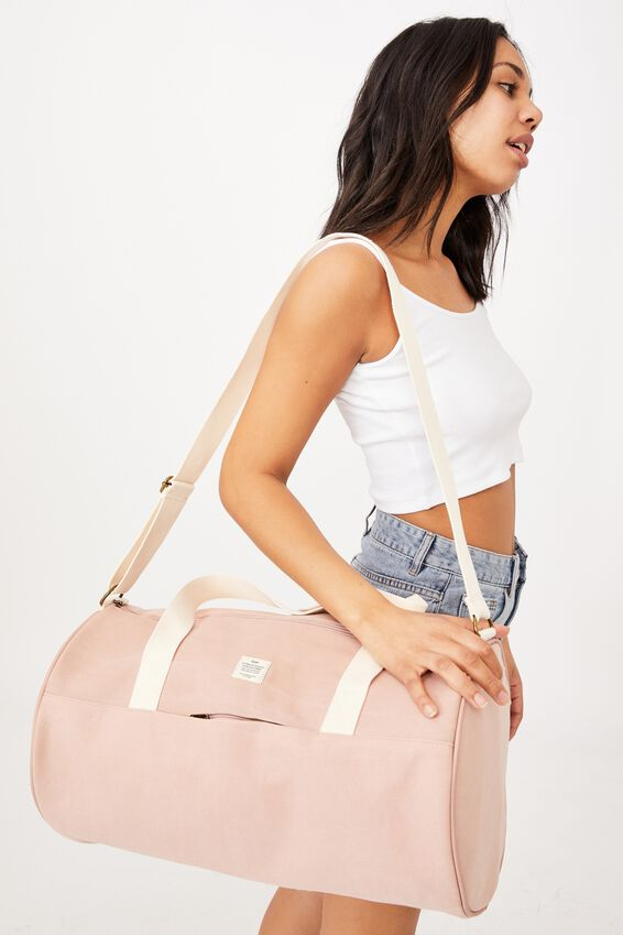 Canvas Barrel Bag, NUDE PINK