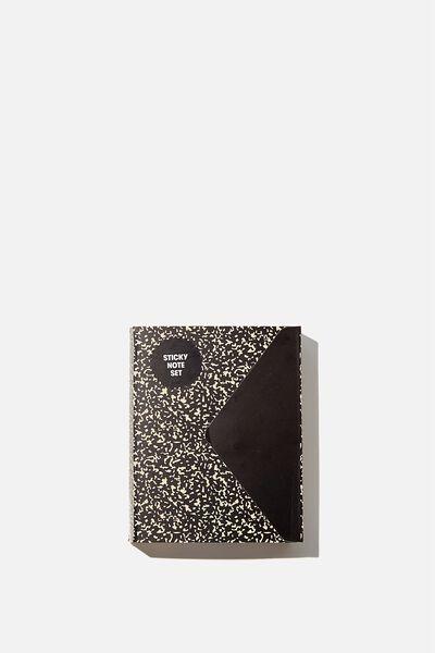 Pocket Sticky Note Set, BLACK COMPOSITION