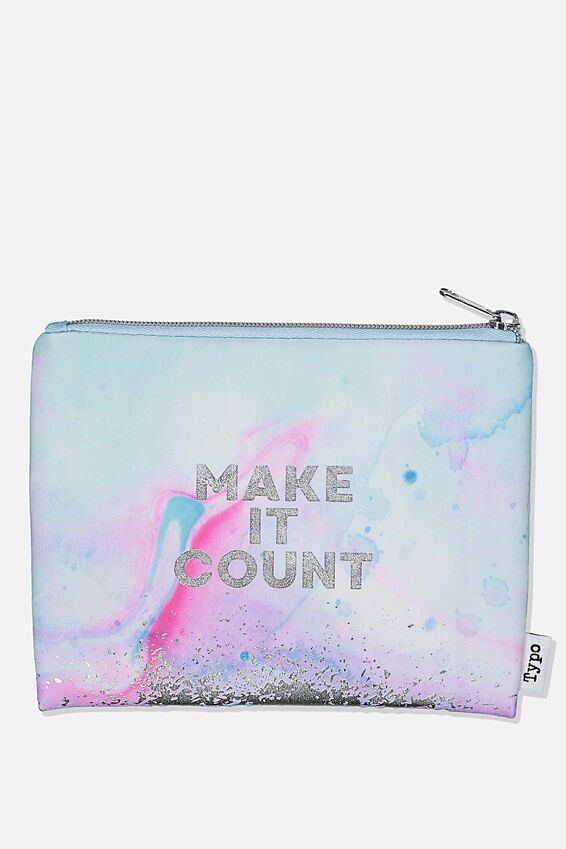 Pu Campus Pencil Case, MAKE IT COUNT WATERCOLOUR