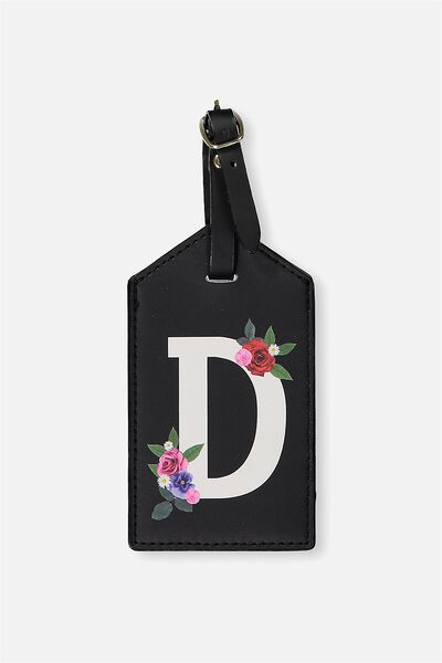 Letter Luggage Tag, BLACK FLORAL D