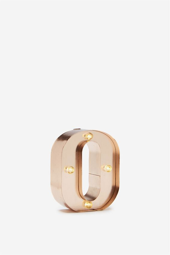 Mini Marquee Letter Lights 10cm, ROSE GOLD O