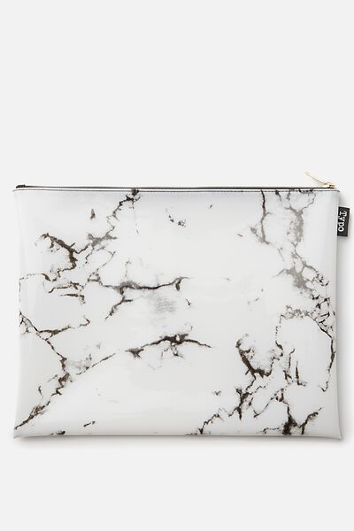 Printed Document Wallet, WHITE MARBLE