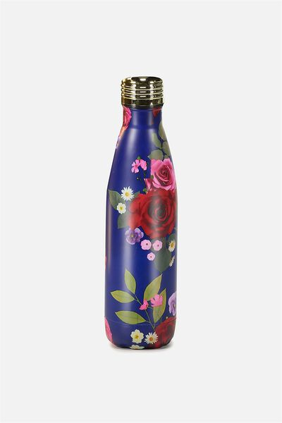 Metal Drink Bottle, BLUE FLORAL