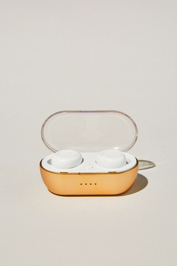 Wireless Earbuds, GOLD & WHITE