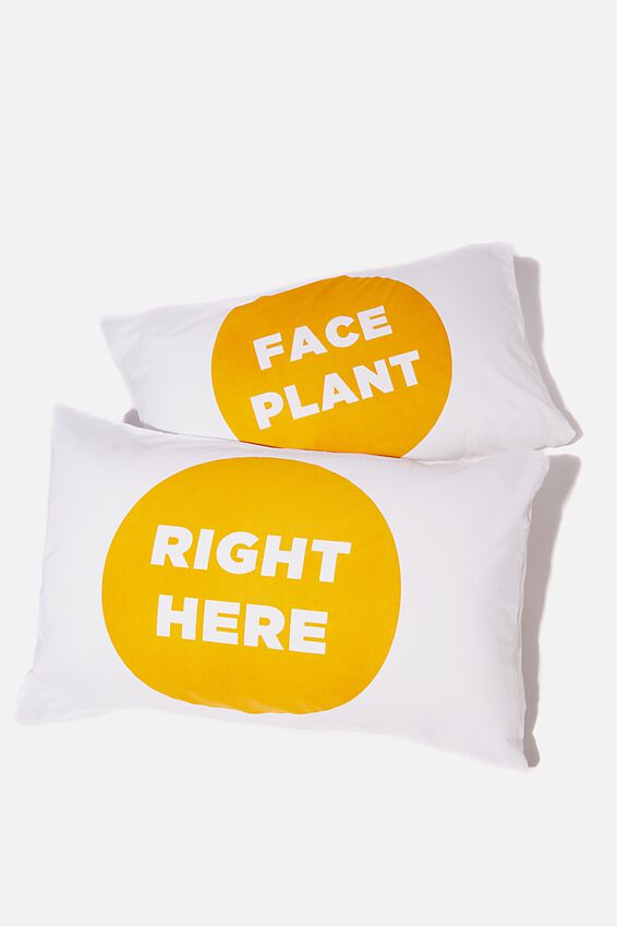 Pillow Cases Set of 2, FACE PLANT
