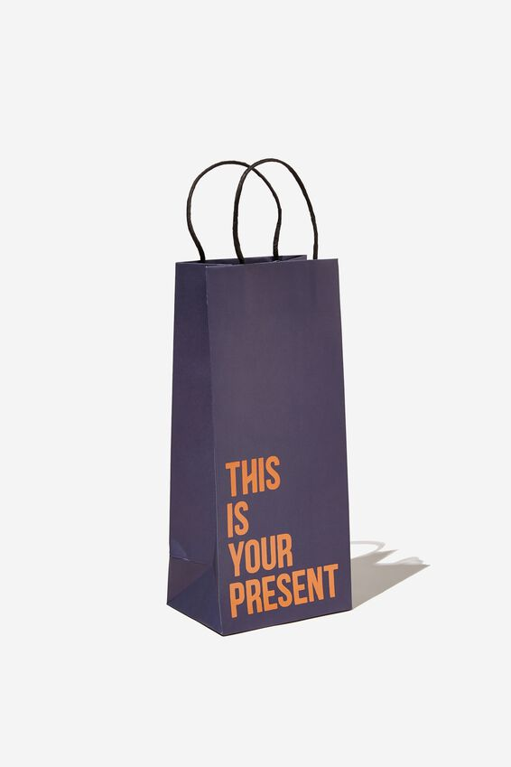 Bottle Gift Bag, THIS IS YOUR PRESENT NAVY ORANGE