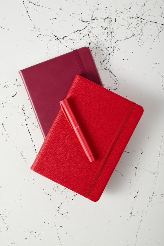 A5 Buffalo Journal Grid Internal, RED