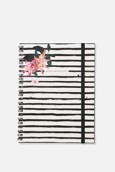 A5 Spinout Notebook - 120 Pages, SUPER IMPORTANT STRIPE