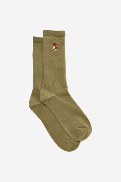 Socks, EMBROIDERED MUSHROOM