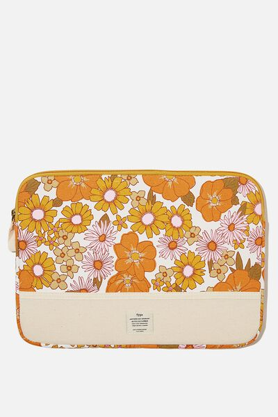Take Me Away 13 Inch Laptop Case Cvs, STEVIE FLORAL ORANGE & PINK WITH RAW CANVAS S