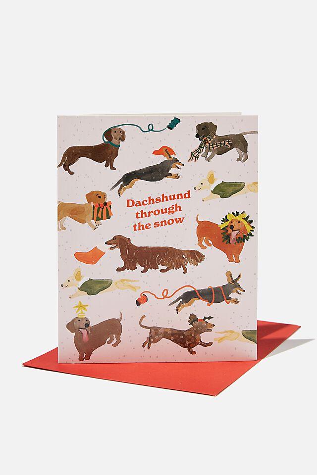 Christmas Card 2021, DACHSHUND THROUGH THE SNOW!