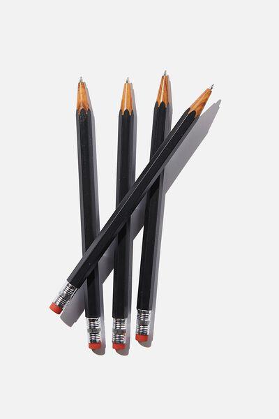 Pencil Pen Pack, BLACK