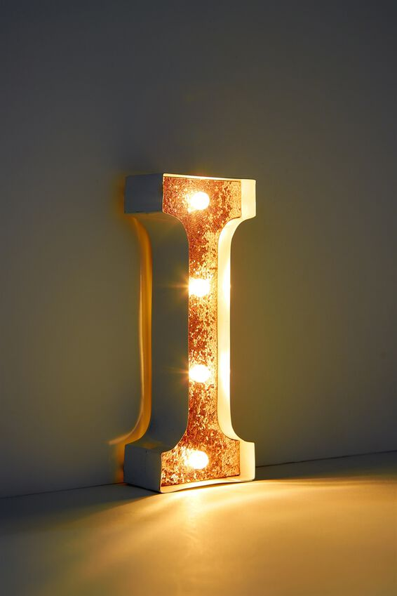 Marquee Letter Lights Premium 16cm Midi, WHITE WITH ROSE GOLD I