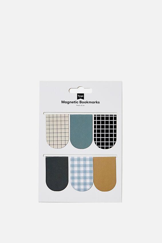 6Pk Magnetic Bookmark, DENIM BLUE & DRIFTWOOD