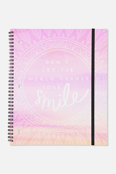 College Ruled Spinout Notebook V, MANDALA CHANGE YOUR SMILE