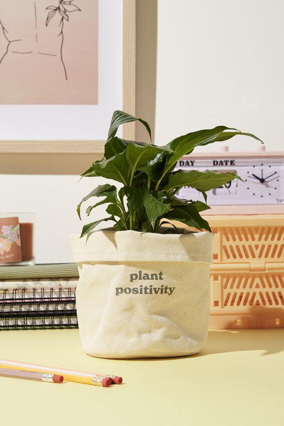 Canvas Planters, PLANT POSITIVITY NATURAL CANVAS