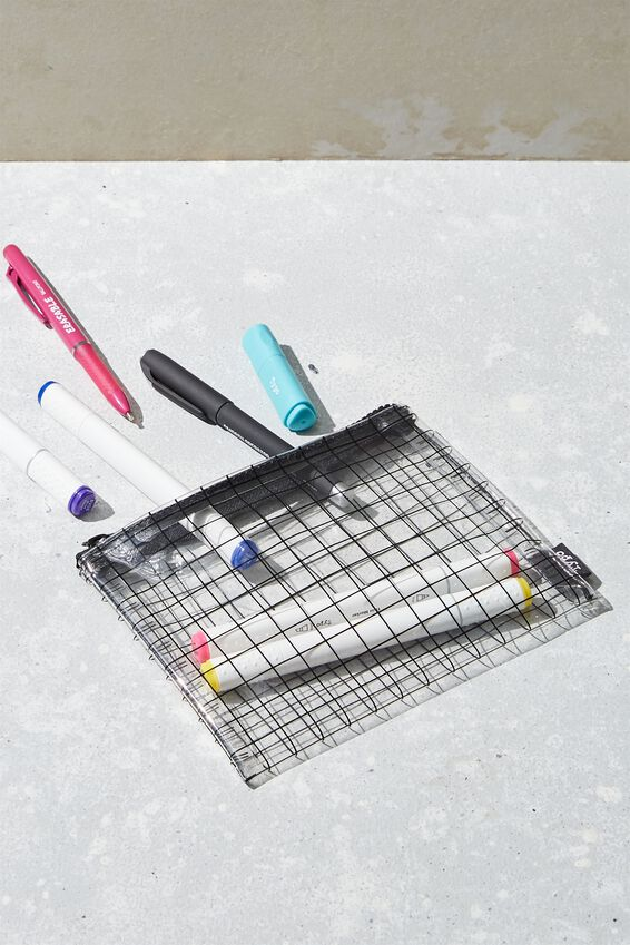 Clear It Pencil Case, PLAIN GRID CLEAR
