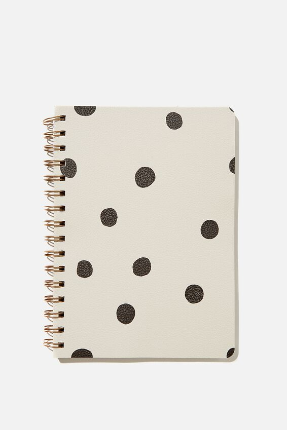 A5 Dot Daily Scribe Notebook, ECRU OVERSIZED POLKA
