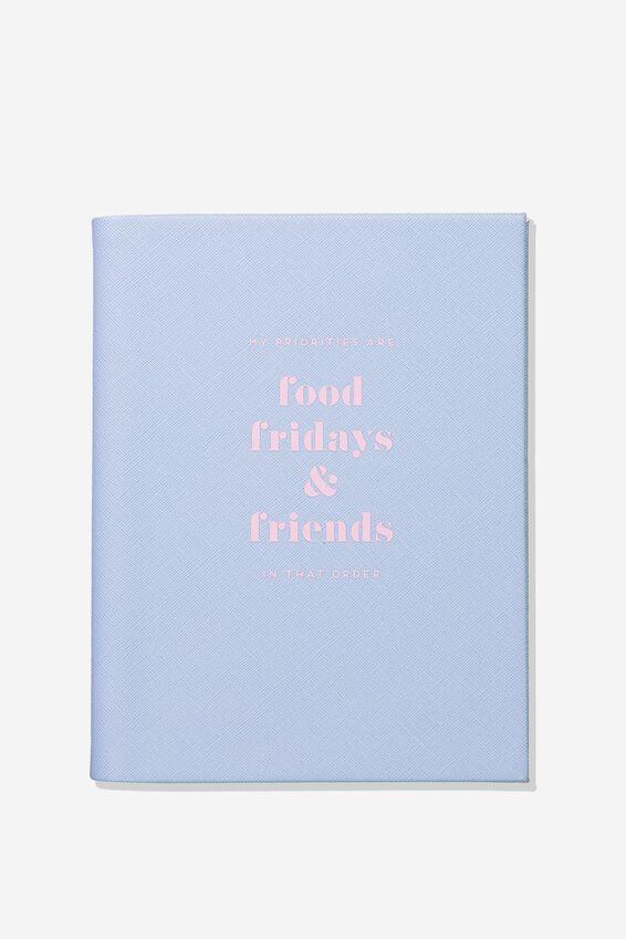 A5 Blank Hidden Spiral Notebook, FOOD FRIDAY FRIENDS BLUE