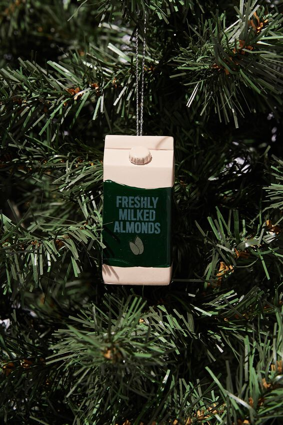 Resin Christmas Ornament, ALMOND MILK