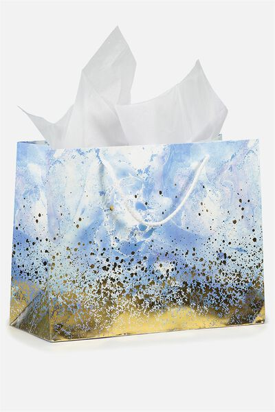 Medium Gift Bag with Tissue Paper, BLUE MARBLE & GOLD SPRAY